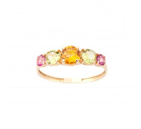Sortija de piedras de color semipreciosa en oro 18K